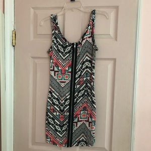 Aztec Design Front Zipper Dress